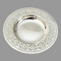 Tiffany Footed Bowl Cutwork Floral Border Sterling Silver