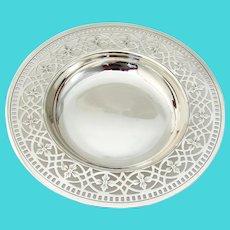 Tiffany Footed Bowl Cutwork Floral Border Sterling Silver
