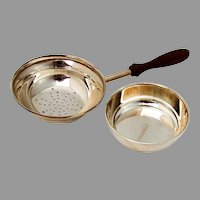 Tiffany Tea Strainer Underplate Wooden Handle Sterling Silver