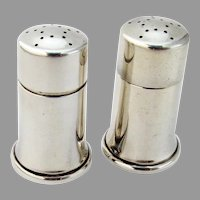 Tiffany Modernist Salt Pepper Shakers Set Cylinder Form Sterling Silver