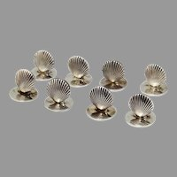 Tiffany 8 Place Card Holders Set Clam Shell Form Sterling Silver
