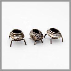 Navajo Old Pawn Open Salt Dishes Set Footed Sterling Silver