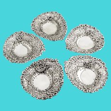 English Openwork Nut Cups Set James Deakin Sterling Silver 1895