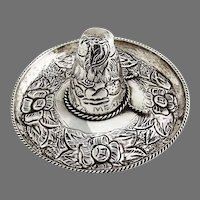 Repousse Floral Sombrero Hat Figurine Sterling Silver Mexico 1960s