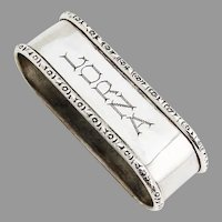 Webster Narrow Oval Napkin Ring Floral Rims Sterling Silver Lorna