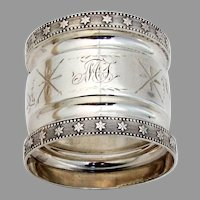 Bright Cut Engraved Napkin Ring Star Borders Coin Silver Mono MT