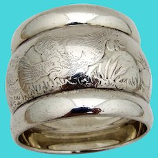 Massive Acid Etched Bird Napkin Ring Coin Silver 1870s Mono RSC