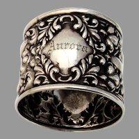 Floral Repousse Napkin Ring Sterling Silver Mono Aurora 1905