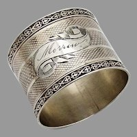 Engine Turned Napkin Ring Ornate Rims Coin Silver Mono Morrow