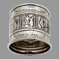 Mother Goose Napkin Ring Gorham Sterling Silver 1906 Christmas Mono
