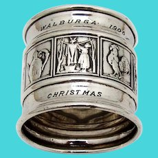 Mother Goose Napkin Ring Gorham Sterling Silver 1906 Christmas Mono