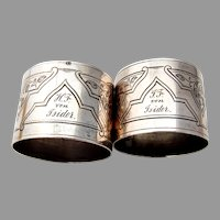 German Engraved Foliate Napkin Rings Pair 13 Loth Silver Mono