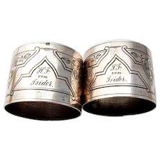 German Engraved Foliate Napkin Rings Pair 13 Loth Silver Mono