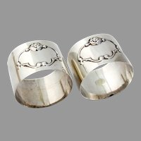 Baroque Rose Scroll Napkin Rings Pair Sterling Silver Mexico