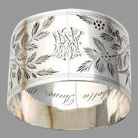 English Foliate Bird Napkin Ring Thomas Smily Sterling Silver 1881 Mono MMH