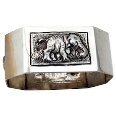 Southeast Asian Elephant Napkin Ring Chamfered Form Sterling Silver