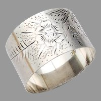 Bright Cut Engraved Floral Napkin Ring Sterling Silver Mono KL