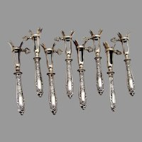 French Floral Lamb Chop Holders Set Pierre Gavard 950 Sterling Silver