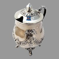 Repousse Floral Mustard Pot Ferdinand Fuchs Bros Sterling Silver 1885