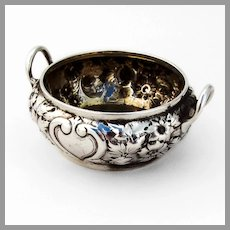 Floral Repousse Open Salt Dominick Haff Sterling Silver 1875