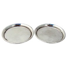 William Spratling Coasters Pair Applied Rim Sterling Silver Mexico