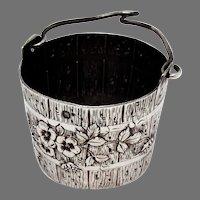 French Floral Bucket Form Tea Strainer Basket 950 Sterling Silver