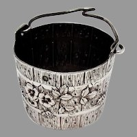 French Floral Bucket Form Tea Strainer Basket 950 Sterling Silver