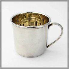 Modernist Baby Childs Cup Plain Design Sterling Silver