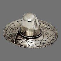 Mexican Sombrero Hat Form Dish Figurine Maciel Sterling Silver 1940