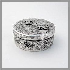 Native American Tobacco Box Enamel Interior Sterling Silver Mono TJN