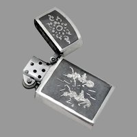 Siamese Engraved Niello Lighter Sterling Silver