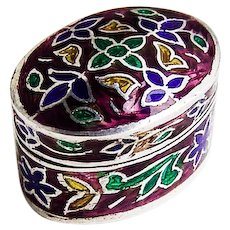 Floral Enamel Pill Box Small Oval Form Sterling Silver