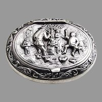 Happy Villagers Pill Box Oval Form Dutch 833 Silver Mono CHL