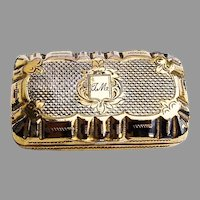 Gilt Engine Turned Pill Box French Export Silver 1860 Mono TM