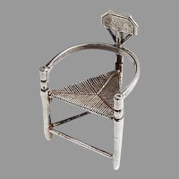 Dutch Miniature Triangular Chair Figurine Kempen Begeer Sterling Silver