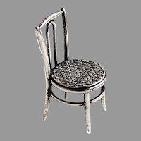 Dutch Miniature Round Weave Chair Figurine Kempen Begeer Sterling Silver