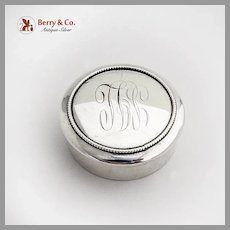 Gorham Round Small Box Beaded Rim Sterling Silver 1898 Mono SJL