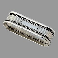 Narrow Oval Napkin Ring Beaded Rims Sterling Silver No Mono