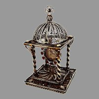 Italian Gilt Filigree Reliquary St Pius X Oliveri 800 Silver 1950s