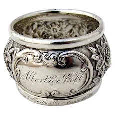 Repousse Napkin Ring Kirk Son Sterling Silver Mono Albert Lee Webb