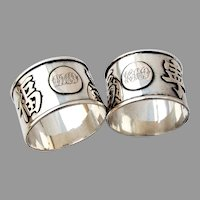 Chinese Character Napkin Rings Pair Wing On Export Silver Mono