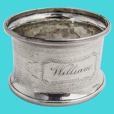 Engine Turned Napkin Ring Coin Silver Mono William
