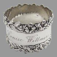 Floral Foliate Border Napkin Ring Watrous Sterling Silver 1905 Mono