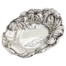 Art Nouveau Blossom Serving Bowl High Relief Sterling Silver