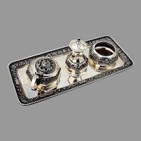 Southeast Asian Ornate Condiment Set Tray Sterling Silver