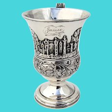 Landscape Childs Cup Pedestal Base Gale Wood Hughes Coin Silver 1840