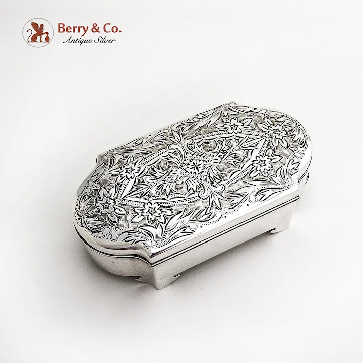 Footed Trinket Box Silver Jewellery Box Footed Box Silver Jewelry Box Oval Box Trinket Box Silver Trinket Box Vintage Trinket Box