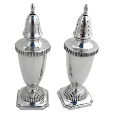 Colonial Revival Salt Pepper Shakers Set Hunt Sterling Silver 1940