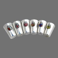 German Shot Cups Set Enamel City Crests 800 Silver Mono