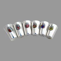 German Shot Cups Set Enamel City Crests 800 Silver Mono